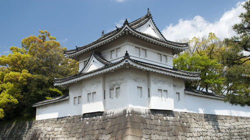 Corner of a large castle in Japan.