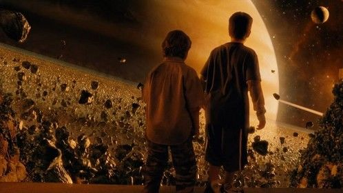 Zathura: A Space Adventure (2005)  Dir: Jon Favreau Stars: Derek Mears, Kristen Stewart, Josh Hutcherson, Dax Shepard  Two young brothers experience a one of a kind galactic adventure when their house is magically brought through space because of the board game they are playing.  Watch it here: http://www.watchfree.to/watch-78b-Zathura-A-Space-Adventure-movie-online-free-putlocker.html