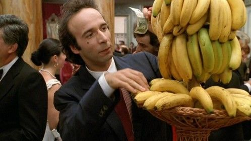 Johnny Stecchino (1991) Dir: Robert Benigni Stars: Robert Benigni, Nicoletta Braschi, Paolo Bonacelli  A kind hearted but an idiot who is fascinated in stealing bananas, is passed off for a snitch hiding from the mob.  Watch the movie here: http://www.primewire.ag/watch-2636-Johnny-Stecchino-online-free