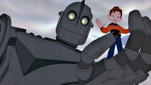 The Iron Giant (1999) Dir: Brad Bird Stars: Eli Marienthal, Harry Connick Jr., Jennifer Aniston, Vin Diesel  A boy makes friend with an innocent giant alien robot that a paranoid government wants to destroy.  Watch it here: http://www.watchfree.to/watch-97f-The-Iron-Giant-movie-online-free-putlocker.html