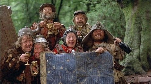 Time Bandits (1981)  Dir: Terry Gilliam Stars: Sean Connery, Shelley Duvall, John Cleese, Katherine Helmond  A young boy accidentally joins a band of dwarves as they jump from era to era looking for treasure to steal.  Watch it here: http://www.primewire.ag/watch-3238-Time-Bandits-online-free