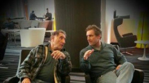 Judd Hirsch and Patrick Walsh (Hirsch's stunt double) on the set of Sharknado 2
