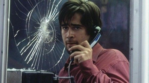 Phone Booth (2002)  Dir: Joel Schumacher Stars: Colin Farrell, Kiefer Sutherland, Forest Whitaker, Radha Mitchell  Stuart Shepard finds himself trapped in a phone booth, pinned down by an extortionist's sniper rifle.   Watch it here: http://www.primewire.ag/watch-1968-Phone-Booth-online-free