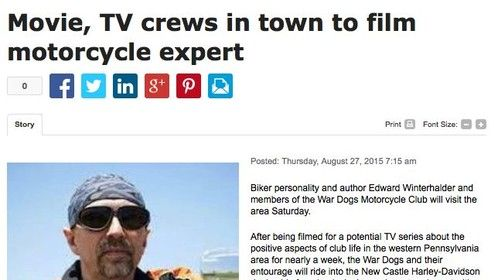 8/29 news article on filming my movie and potential TV series about the positive aspects of motorcycle club life.