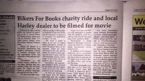 Lansing Michigan newspaper article from last week about my appearance during the 3rd annual Bikers For Books event, and the filming of my movie: