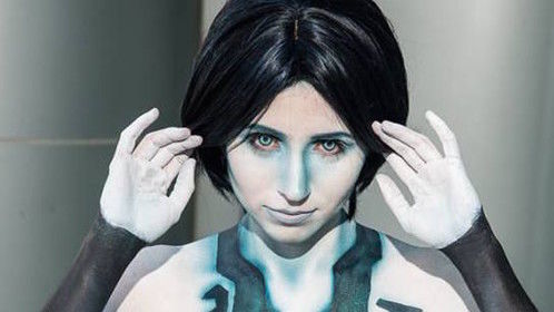 Cortana body painting - demo for Cinema Makeup School, Wondercon 2015
