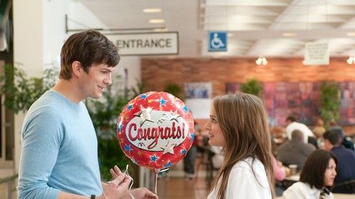 No Strings Attached (2011)  Dir: Ivan Reitman Stars: Natalie Portman, Ashton Kutcher, Kevin Kline, Cary Elwes  A washed up singer is given a couple days to compose a chart-topping hit for an aspiring teen sensation. Though he's never written a decent lyric in his life, he sparks with an offbeat younger woman with a flair for words.  Check the movie here: https://www.youtube.com/watch?v=Ubfcfs98MBw&noredirect=1