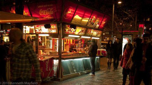 Food booth, Wenceslas Square, Prague.