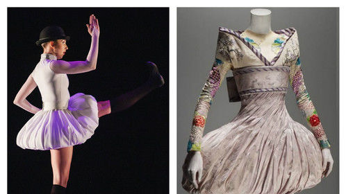 "One year ago I designed the costumes for Sarah Tallman's ""Son of Man"" ballet. My costume design was inspired by a picture she brought in of Alexander McQueen's Kimono Bubble Dress from his ""Savage Beauty"" line. Seemingly a simple skirt design, it was pretty difficult to interpret for ballet and execute. But it was a VERY fun challenge and my favorite show last season. (Photo: Amanda Tipton, Choreography: Sarah Tallman, Dancer: Meredith Strathmeyer Worobec)"