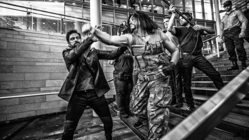 Manu Bennett, the Hobbit Sparticus, Arrow, The Shannara Chronicles, and Kevon Stover, Beta Test, Time Warrior, filming the long take-fight scene for Beta Test.