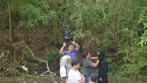 Filming in the woods on my first film!