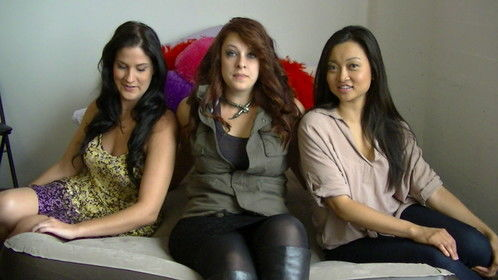 The cast of the short film Trois Like It Hot, (L to R) Victoria Marcello, Maxi Witrak, Tiffany Kieu, about 3 women fed up with being treated bad by men go on a killing spree.