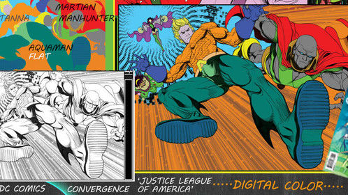 BLOOD MOON: Justice League of America  Convergence issue #1      DC Comics 2015  This was a collaboration project. I was an assistant to the book credited colorist. My tasks included separating the Illustrator's black and white original line art and inked elements, to then add flat base digital colors to simplify work flow for print production. Software used: Adobe Photoshop CS6   *Read more about the project on my blog :  http://paideiaproductions.com/dc-comics-justice-league-of-america-detroit-convergence-issue-1/   ELONGATED MAN, SUE DIBNY, VIXEN, VIBE, STEEL, GYPSY, AQUAMAN, ZATANNA, and MARTIAN MANHUNTER © DC COMICS BLOOD MOON: JUSTICE LEAGUE OF AMERICA #1 © DC COMICS