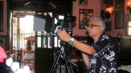 """From the set of """"TWO LITTLE HINTS"""". The Director Of Photography, Giacomo Casano."""