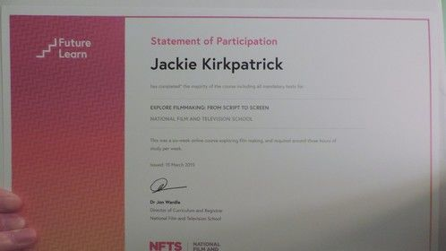Certificate from an online film making course I took from NFTS.