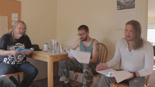 The Actors of The Message going over lines during a table read. From Left to Right: T. Sean Prescott, Klyf Duhrahs and Jason Pancoast.
