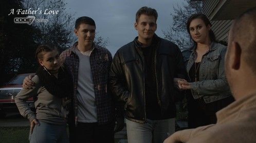 Screen Grab of Laci Kay, Teegan Heesch, Drake Hunter,  and Taylor-Grace Davis from the SAG short film 'A Father's Love'
