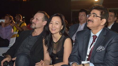 in Delhi Noida international film festival actress Mungunzul   with  Sandeep Marwah
