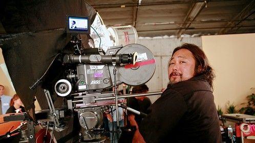 Working the ARRI 535B on a commercial shoot starring Leslie Nielsen.