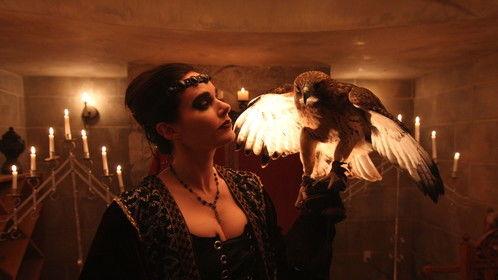 "Karin Inghammar & 'Mohave' on-set during filming for ""Battle of Burgledorf"", directed by Richard Olak."