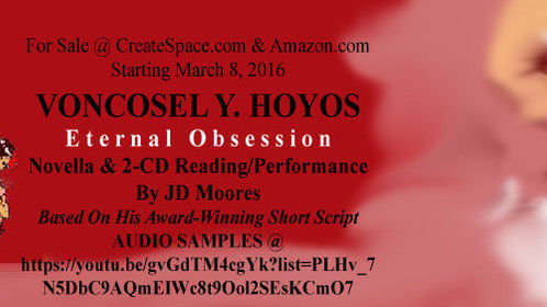 Banner advertising novella & 2-CD audiobook/reading VONCOSEL Y. HOYOS: ETERNAL OBSESSION.