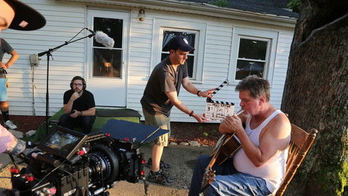 Doug Fellegy (seated, sound), Jonathan Nichols-Pethick (with clapper, editor, producer), and Ron Dye (as Warren) during MUD LOTUS shoot.
