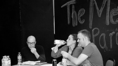 L-R:  Richard Oliver (voicing James Moran), Amelia Sefton (Emma Morgan) and Simon Bugg (D.I. Ian Hammond)