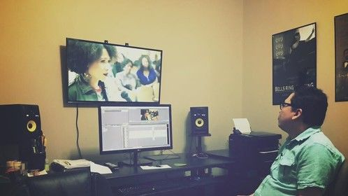In the editing room working on Battle Line with Ted Ramasola of Ramasola Productions!