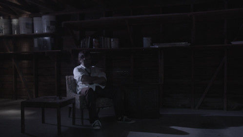 A pic from my short film, Damien Dimensione. A brooding Damien contemplates his lot in life.