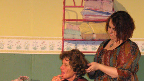 "Annelle and Clairee in the Slightly Off-Broadway Players' ""Steel Magnolias"""