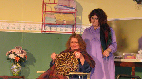 "Annelle and Ouiser in the Slightly Off-Broadway Players' ""Steel Magnolias"""