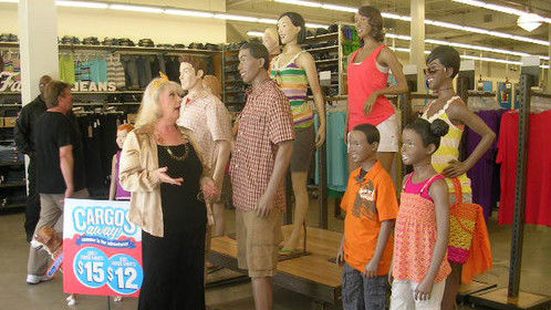 Marguerite Fair doing an Interview with the Mannequins at Old Navy in Santa Monica