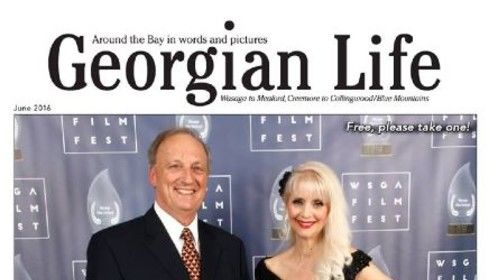 Cover page of the June 2016 Georgian Life Magazine. With Gary Cerantola, Chair of the Wasaga Film Festival and Wasaga Society for the Arts. Photo by Bryan Davies.