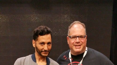 Me with Cas Anvar at The Expanse pilot sneak preview at the Space Channel booth at Fan Expo, 2015