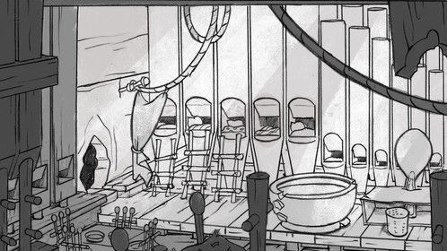 Interior scene layout for my Christmas special.