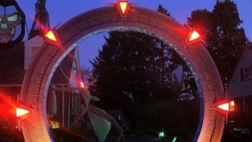 In 2007 our backyard neighbor, a wonderfully sweet, terminally ill, young woman, wished for us to build her a Stargate. So we did. When her father wheeled her through the portal, her eyes lit up. For a split-second she was lost in her imagination. She smiled. Each Halloween, as parents lead their kids through, you can see that split-second of wonder in their expressions too. THE STARGATE sparks everyone's imagination.