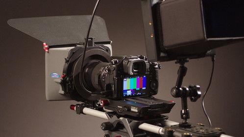 "Panasonic GH4, mounted, with Vocas MB210 matte box and Manhattan LCD 5.5"" field monitor."