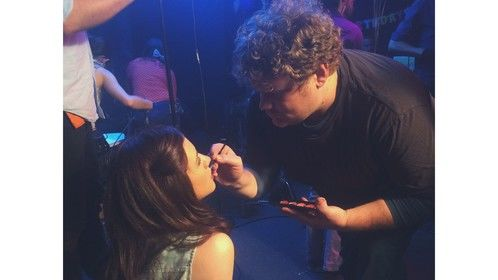 Me doing makeup touch ups for the CW's I Ship It series.