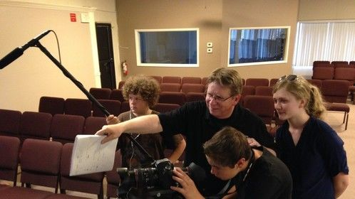 Students learning all about movie making at our Film Camp