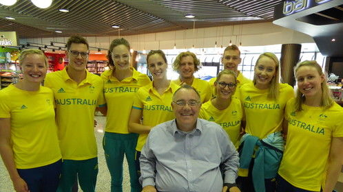 It was a lovely surprise to catch up with the Aussie swimmers in Brisbane, as they leave to compete in Rio. Wonderful to be able to wish them all the best. #GoAustralia #Rio