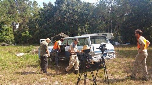 On set filming at Kahana's Stunt School.