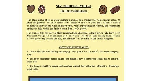 The Three Chocolatiers Children's Musical Page 1