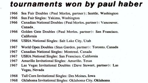 Just the tip of the iceberg  showing Paul Haber's  tournament victories