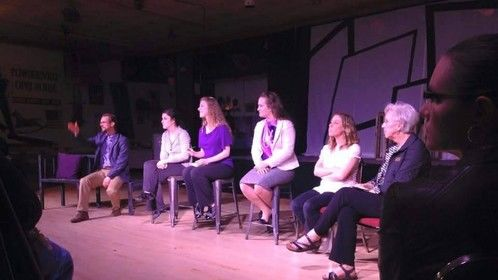 """Participating in a talkback for the play I wrote for my master's thesis, """"Faces in the Mirror"""" Spring 2015 https://www.facebook.com/FacesInTheMirror15/"""