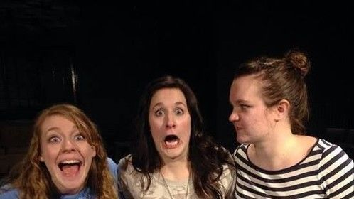 """Cast for the improv comedy show """"Two Brunettes and a Blonde"""" Spring 2015"""