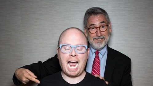 Big Bald Head and John Landis havin' a time. (Photo but the uber-cool Ed Steele.)  My interview with the Landis: http://twitchfilm.com/2015/04/unreeled-john-landis-retrospective-interview.html â