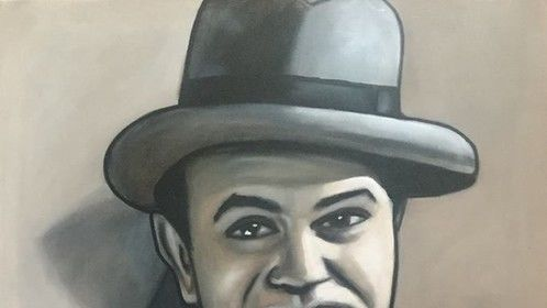 """Edward G. Robinson"", as ""Little Caesar"", ""Rico"", in Film ""Little Caesar"", ""Hollywood Legend"", ""Film Actor"", ""Movie Actor"",acrylic on canvas, by Fin Collins, part of The Film Icons Collection www.filmiconsgallery.com"