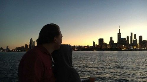 Dan and me this summer, love the city backdrop