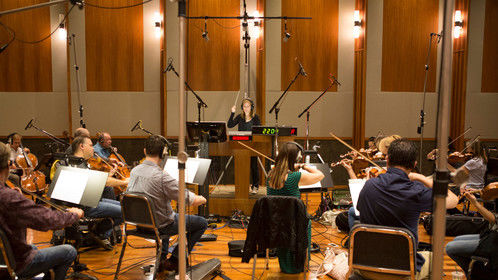 "Recording the score for ""The Devil's Dolls"""