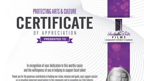FITDFilmsCIC Certificate of support for Arts and Culture